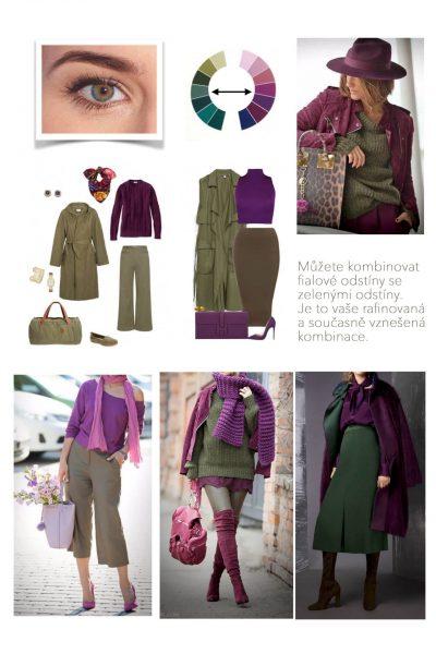 kombinace fialove a zelene barvy